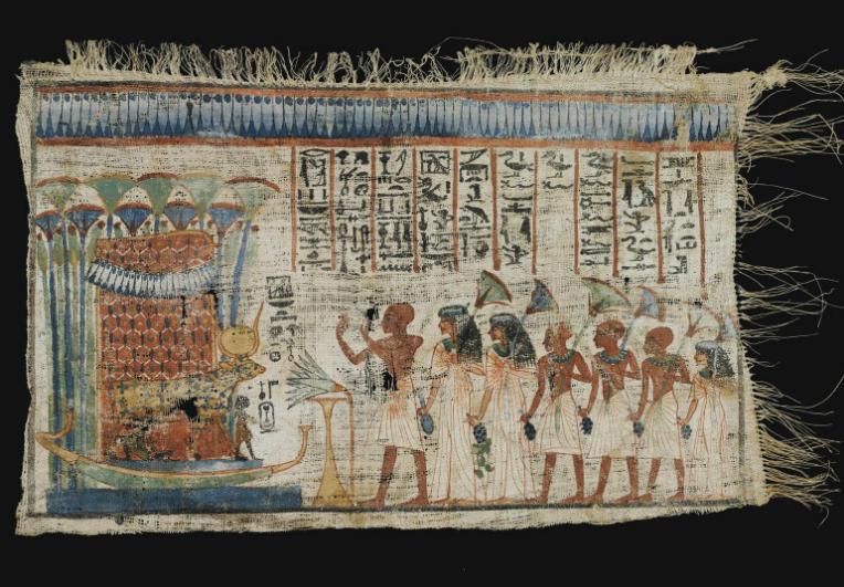 AN EGYPTIAN PAINTED VOTIVE LINEN   NEW KINGDOM, LATE DYNASTY XVIII-EARLY DYNASTY XIX, CIRCA 1300-1200 B.C.
