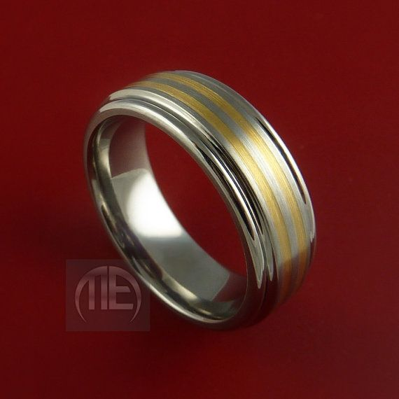 Titanium and 14K Yellow Gold Inlay Ring by StonebrookJewelry, $154.92