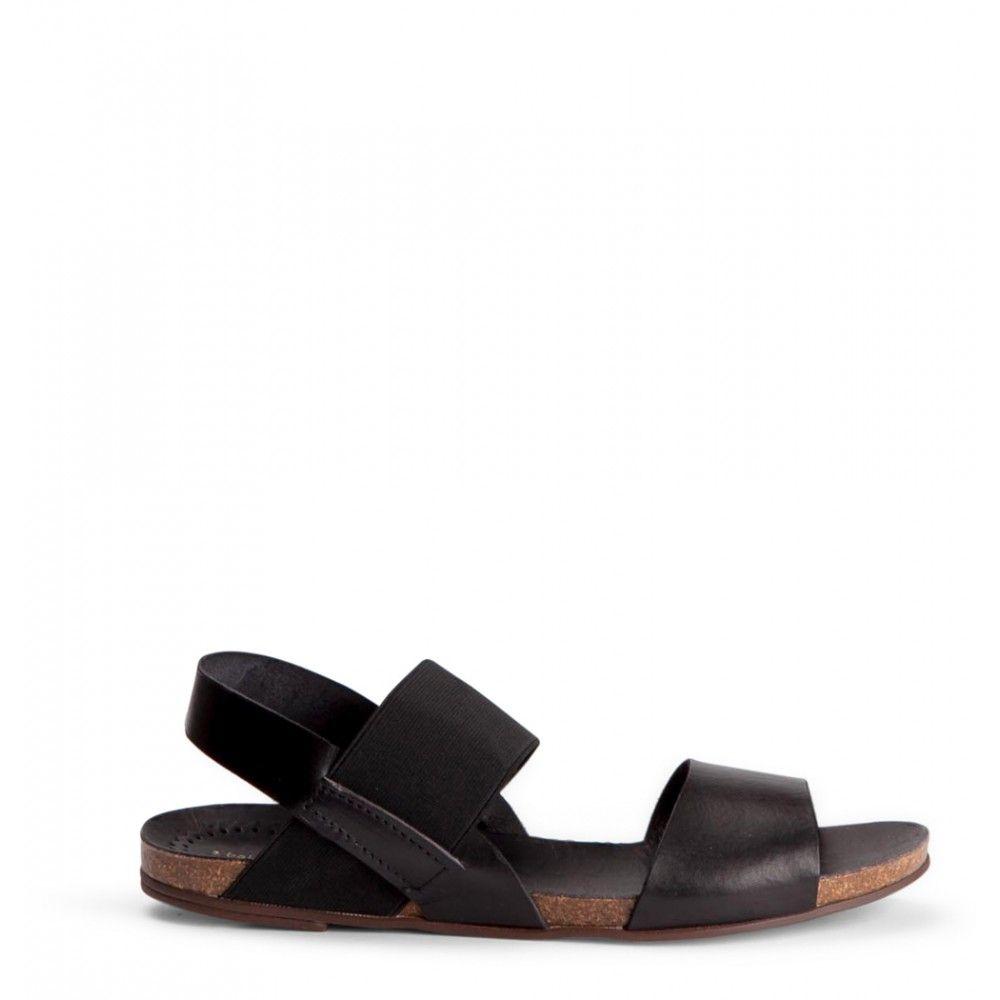 2 Baia Vista 72163 Black Black Slip On Sandal Leather Sandals Mule Shoe