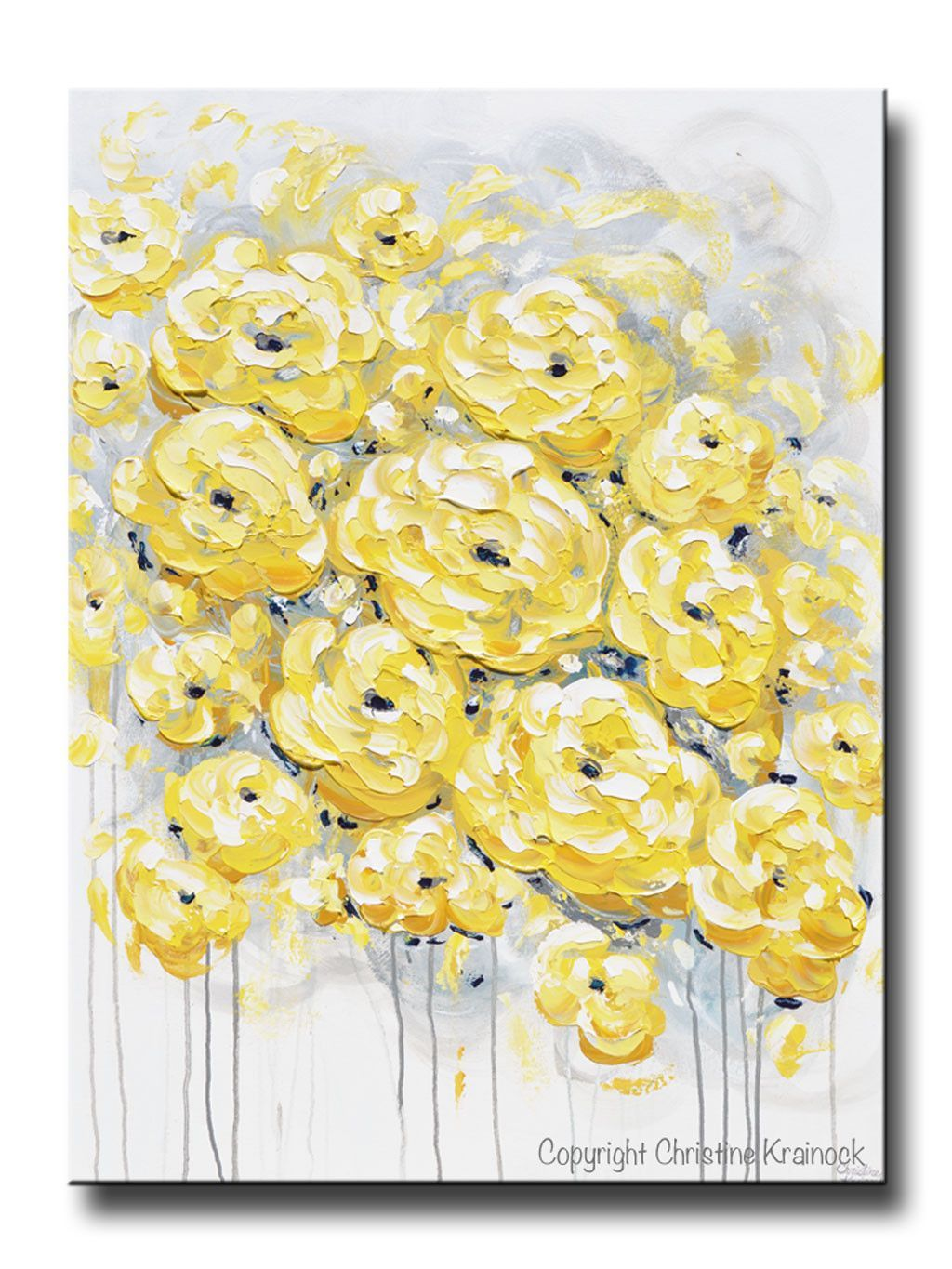ORIGINAL Art Abstract Painting Yellow Grey Flowers LARGE Wall Art ...