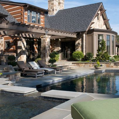 Backyard Pool Design Ideas Pictures Remodel And Decor Page 2 With Images Exterior Design Traditional Exterior Rustic Exterior