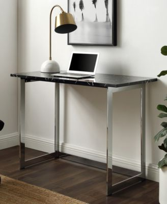 Walker Edison 42 Inch Faux Marble Desk With Black Top And Chrome Base Reviews Furniture Macy S Marble Desk Space Furniture Home Decor