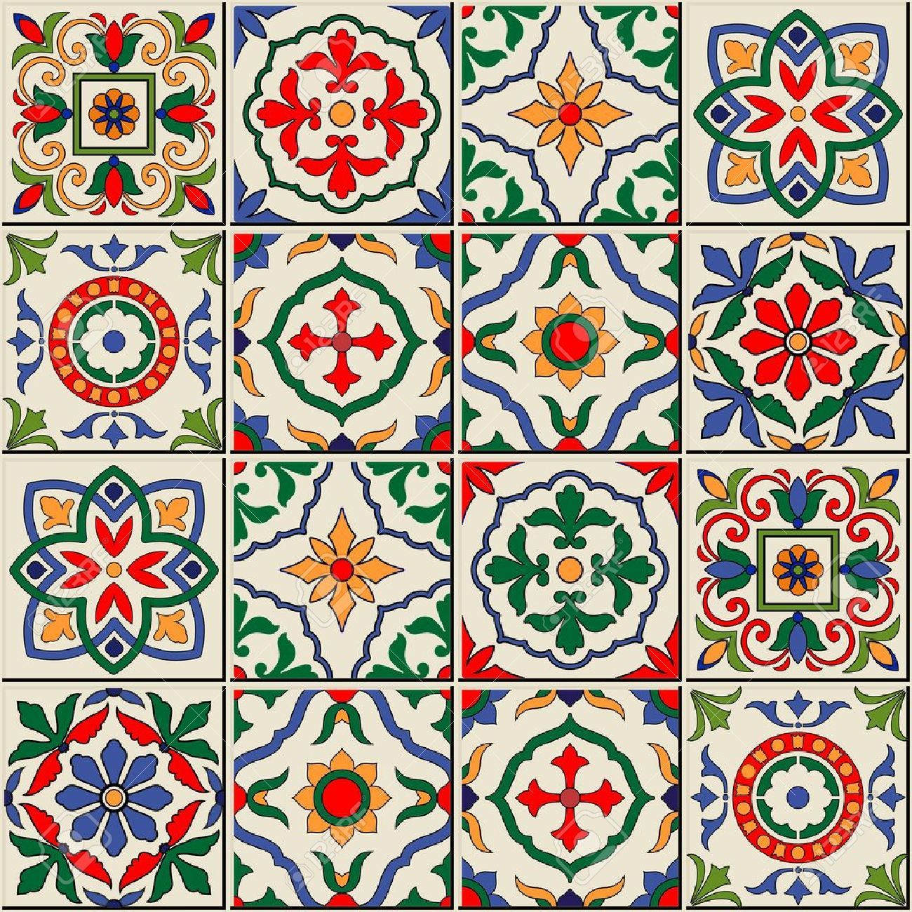 49119962-Gorgeous-seamless-pattern-white-colorful-Moroccan ...