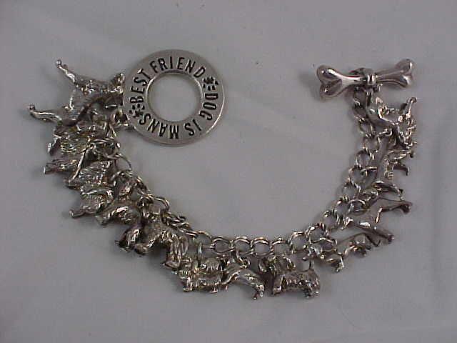 Vintage DOG CHARM BRACELET 12 Breeds! Sterling Silver w/Tag L@@K! #AnneJewelryDesign