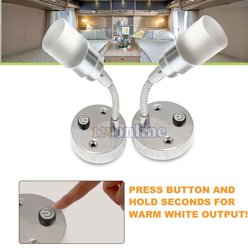 2 12v Led Flexible Reading Light Rv Caravan Camper Cargo Bedside Chart Lamp Warm Reading Light 12v Led Led Reading Light