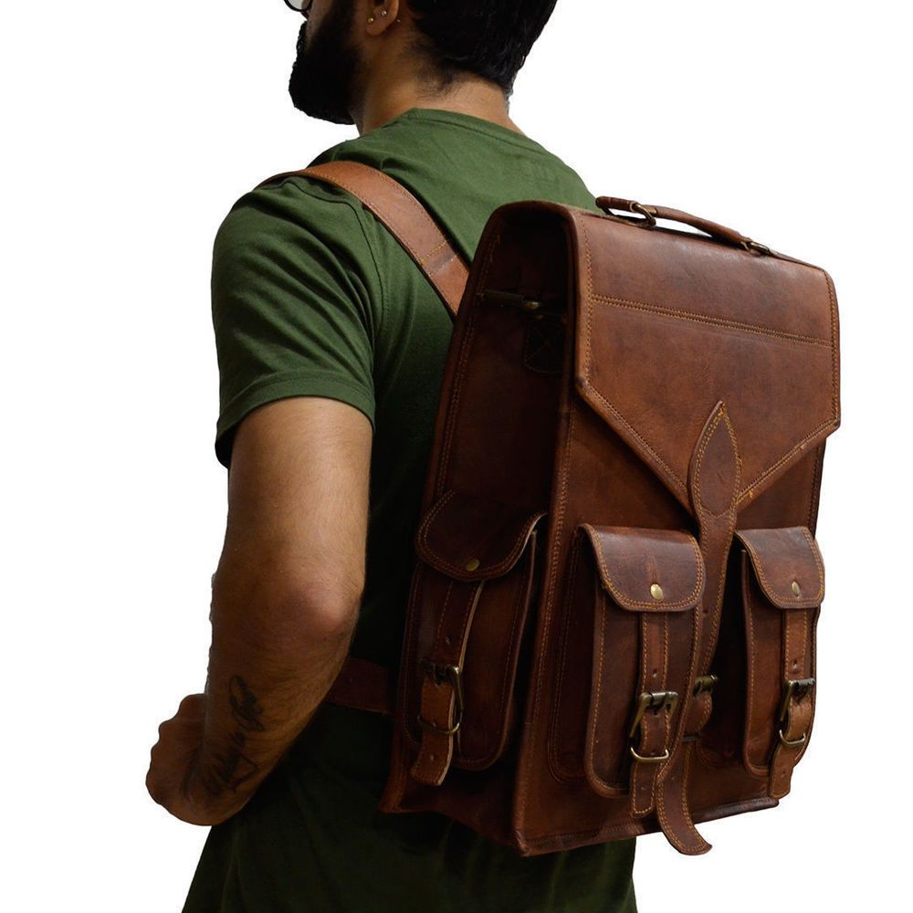 a2b40c3e90af Men s Women s Leather Backpack Laptop Vintage Satchel Travel School  Rucksack Bag  fashion  clothing