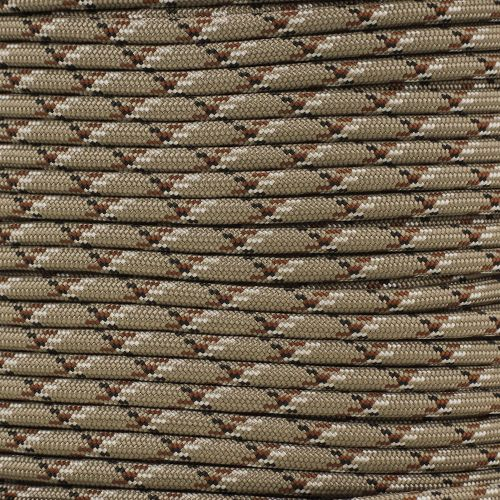 "Cordage: Para-Max 1000 Paracord, Desert Camo, 50 feet.   Information:  Para-Max paracord is a bigger beefier paracord. It's the strongest type on the market and essential for any emergency survival kit.   Specs:  1000 lbs Tensile Strength 4 Inner Strands 32 Strand Woven Nylon Sheath Outer Material Rot Resistance UV Fading Resistance 1/4"" Diameter Durable Made in the USA"