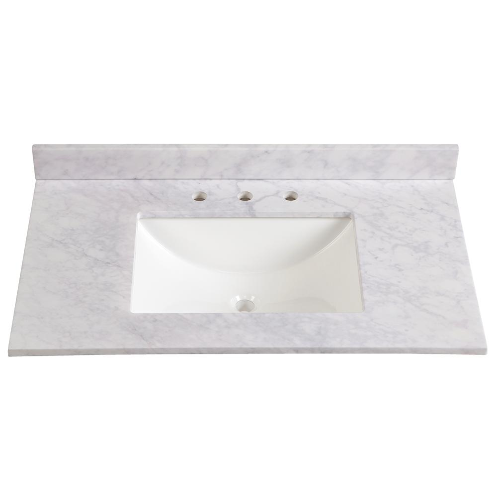 St Paul 49 In Stone Effects Vanity Top In Capri With White Sink