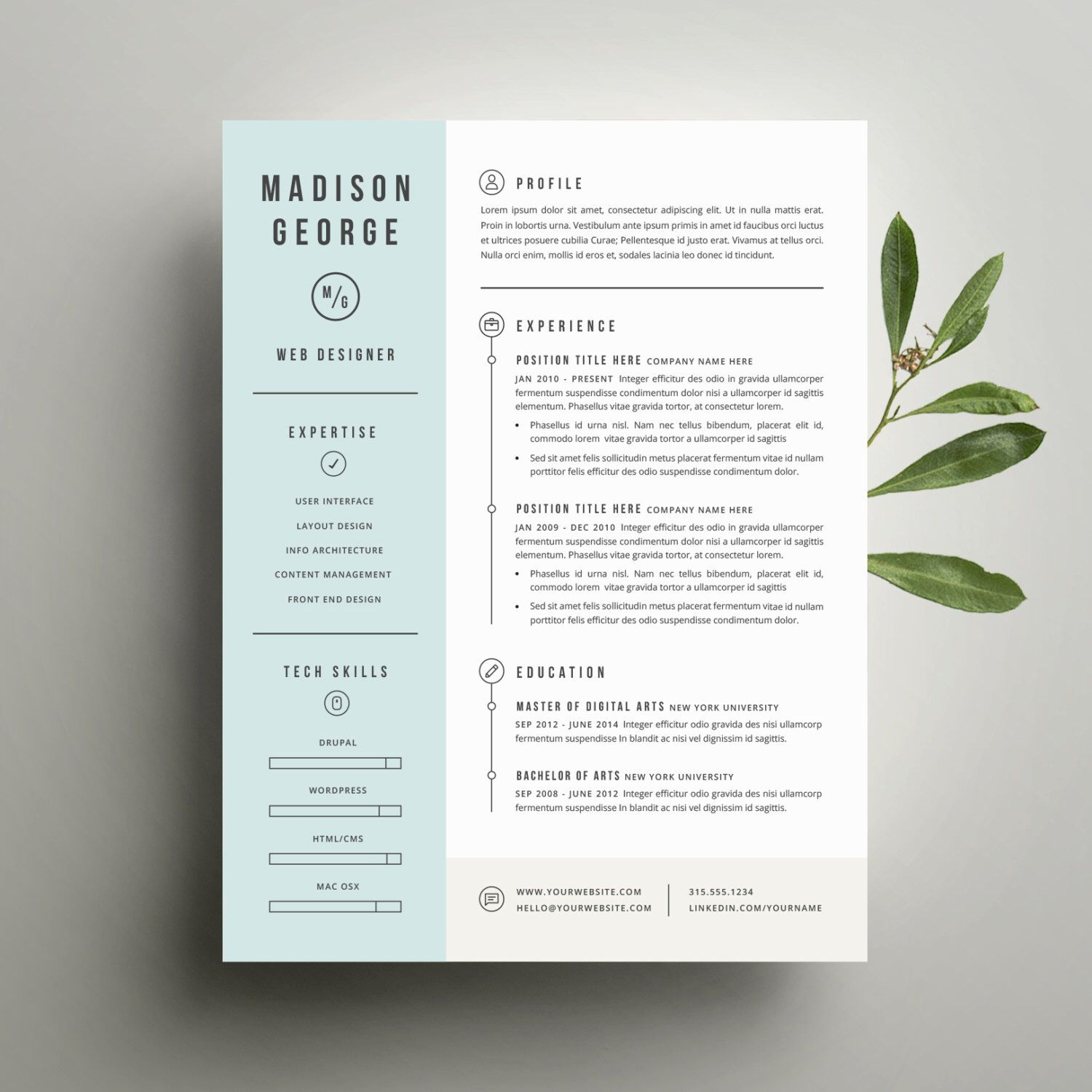 Modern Resume Design Modern Resume Template And Cover Letter Template For Word  Diy