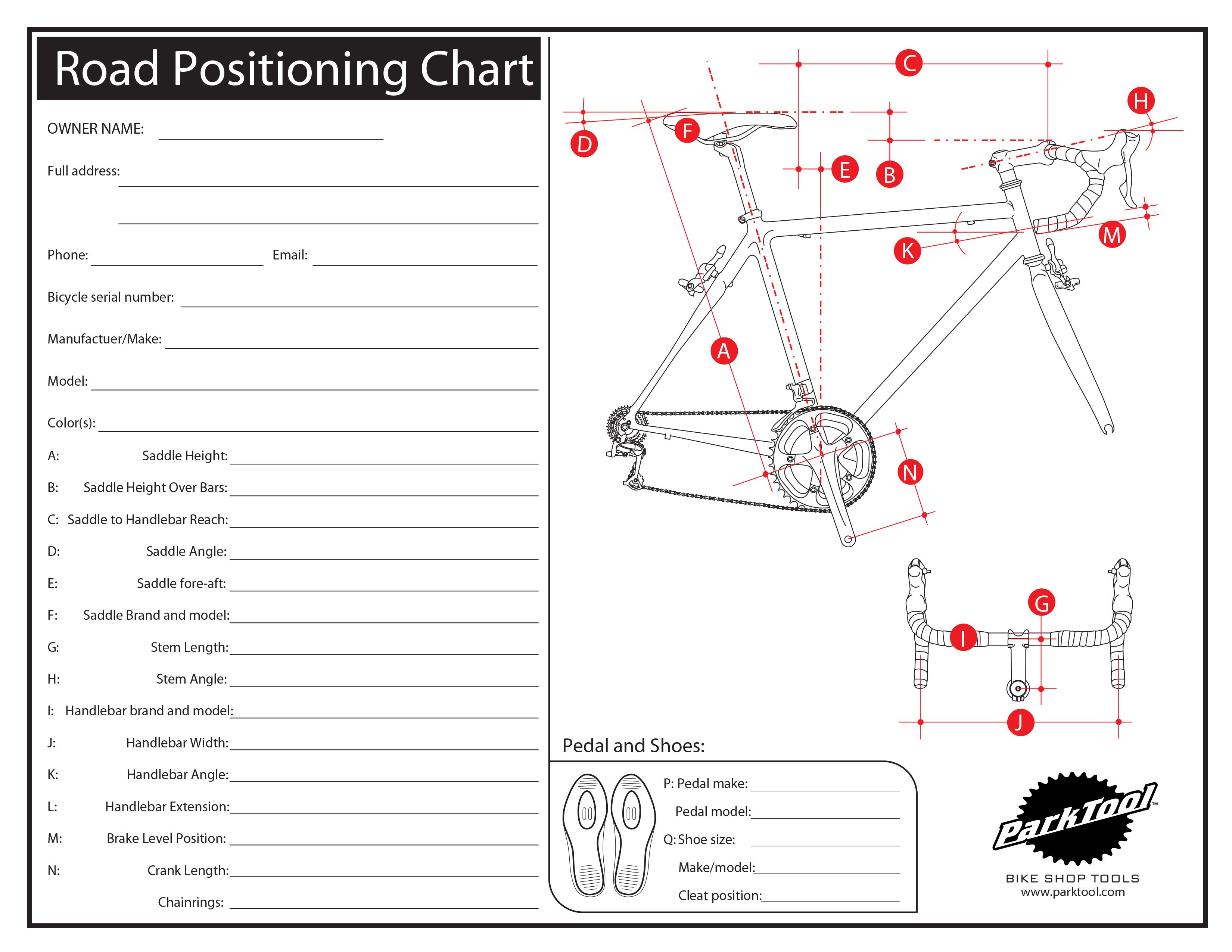 Road Positioning Chart Sykkelvedlikehold, Sykkel, Parkverktøy  Bicycle maintenance, Bicycle, Park tool