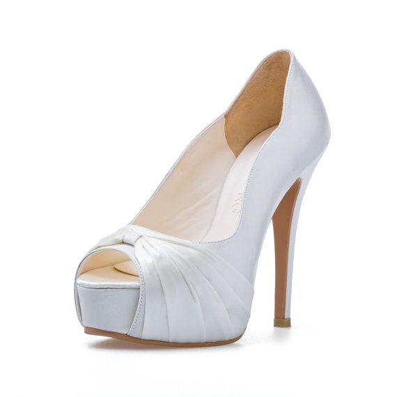 Custom Made Wedding Shoe White Wedding Shoe Satin Wedding Heel White Bridal Shoe Custom Made Wedding Sh White Wedding Shoes Wedding Shoe White Bridal Shoes