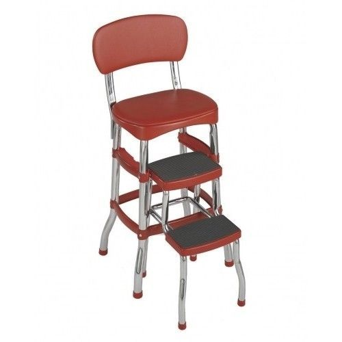 Red Retro Cosco Step Stool Ladder Chair Kitchen Bar Old Fashioned Vintage #Retro #Vintage