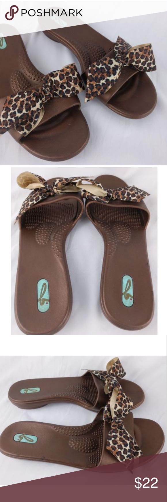 6fa915417798ff OKA B Madison Slide Sandals Size ML 8.5 - 9.5 Oka-B Madison Slide Sandal  Brown with Satin Leopard Print Bow Made in the U.S.A. Women s ML - Fits 8.5    9.5 ...