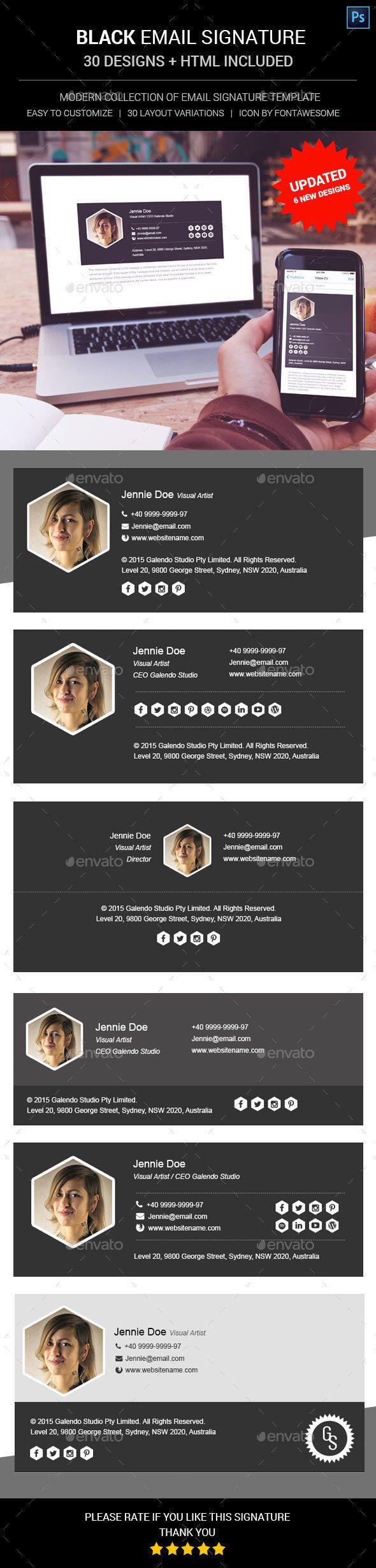 Black Email Signature | Email signatures, Email signature templates ...
