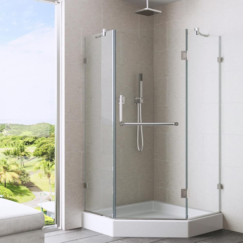 Piedmont 36 125 Inch X 78 75 Inch Frameless Neo Angle Shower Enclosure In Brushed Nickel With Base In White Neo Angle Shower Shower Enclosure Neo Angle Shower Doors