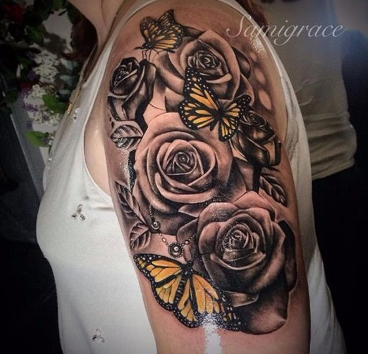 Tattoo manchette avec papillons et roses tattoo tatoo and tatoos - Tatouage de papillon ...