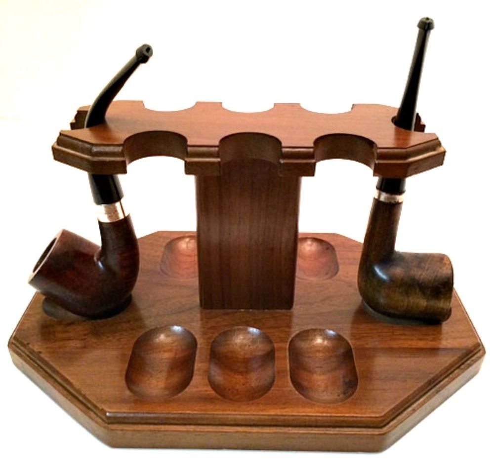 Vintage Decatur Walnut Eight Pipe Rest with 2 #Pipes