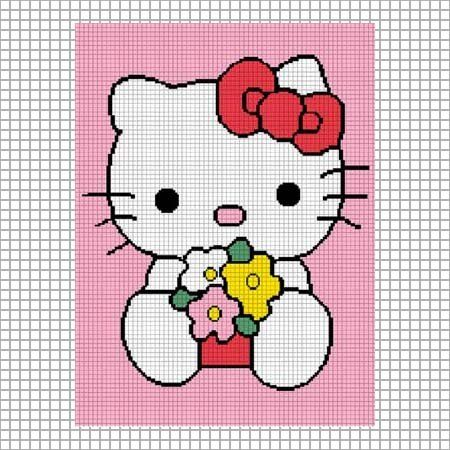 Hello kitty flowers crochet afghan pattern graph emailed .pdf ...