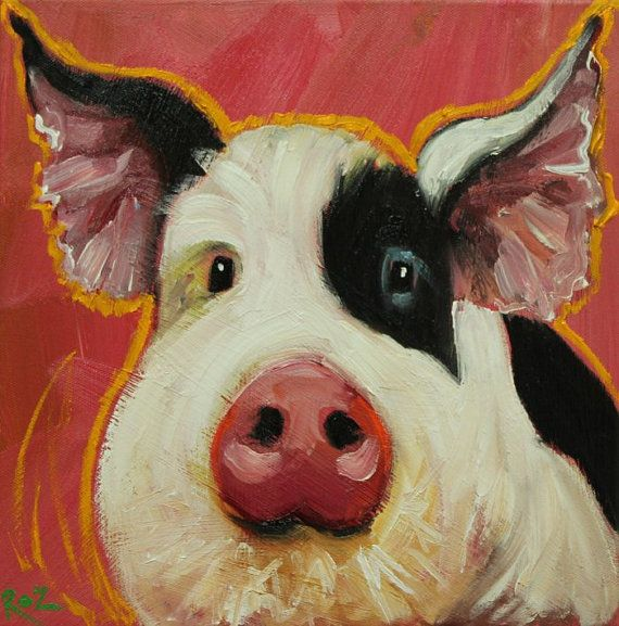 Pig painting 168 12x12 inch original oil painting by Roz by RozArt