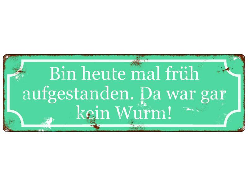 Shabby METALLSCHILD BIN FRÜH AUFGESTANDEN Spruch von Interluxe via dawanda.com