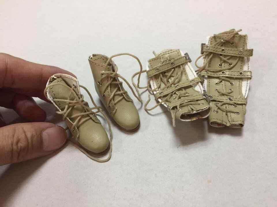 """MC Toys 1//6 Scale ERYX Soldier Desert Boots For Pegs for 12/"""" action figure use"""