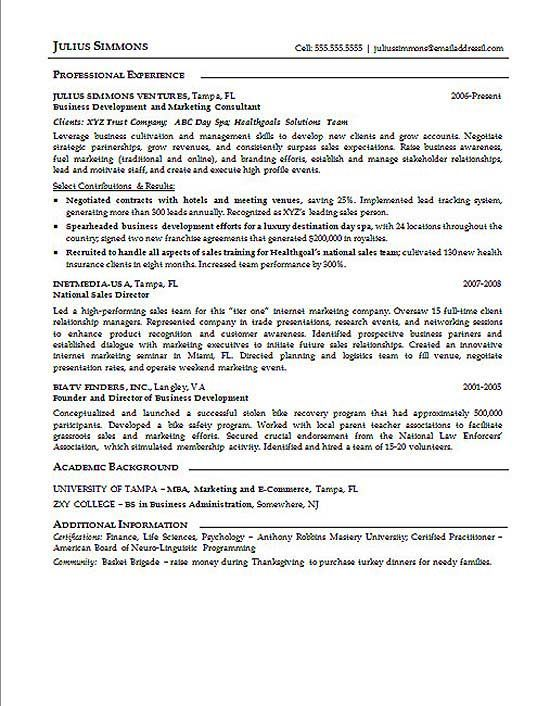 Marketing Executive Resume Example Executive resume and Resume - national sales director resume