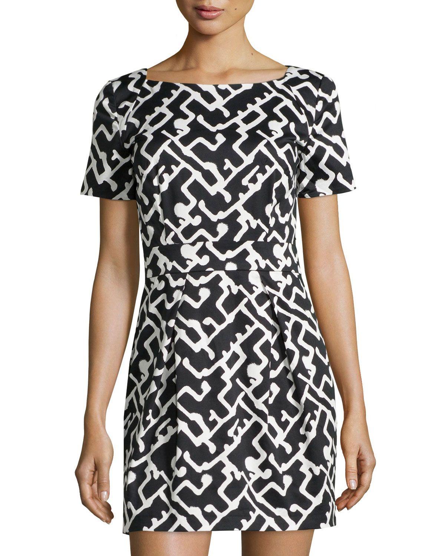 1e96316dbda French Connection Downtown Grid-Print Ponte Dress, Black/White, Women's,  Size: 4, Downtown G