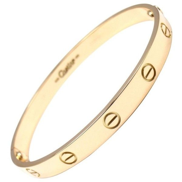 Preowned Cartier Love Yellow Gold Bangle Bracelet (17.606.410 COP) ❤ liked on Polyvore featuring jewelry, bracelets, bangles, yellow, gold bangle bracelet, gold jewelry, yellow gold jewelry, cartier jewelry and gold bangles
