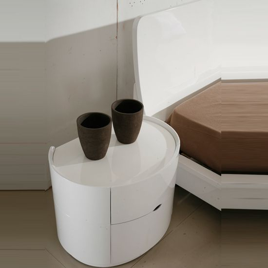 Laura Bedside Cabinet In White High Gloss With 2 Drawers Bedside