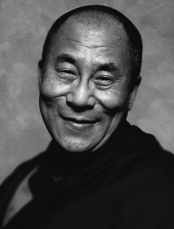 dalai lama black and w...