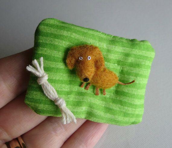 Dachshund Doxie Dog Miniature Felt Stuffed Animal By Wishwithme