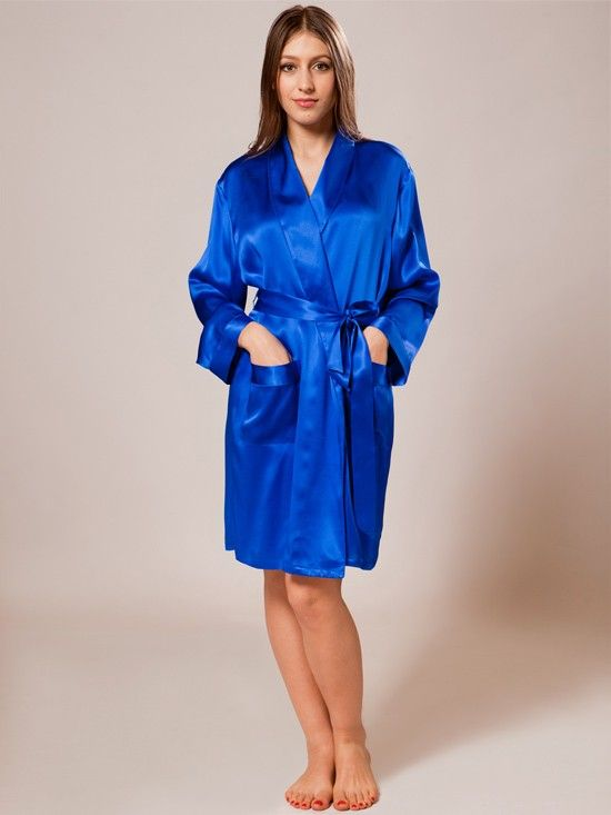 c141cd47e617 Short length silk robe with full length sleeves has a sash tie and the two  front pockets.