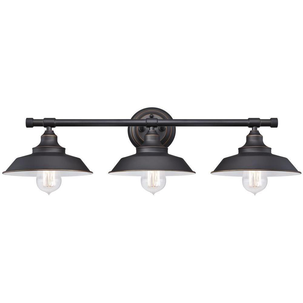 Bathroom Sconces Menards westinghouse iron hill 3-light oil-rubbed bronze wall fixture