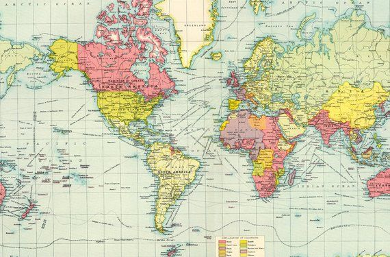 graphic relating to Printable Atlas known as Antique colourful entire world map electronic print. Printable World-wide