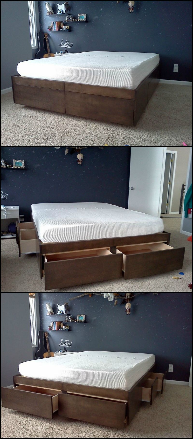 Do-It-Yourself Bed With Drawers | Bett, Schlafzimmer und Betten