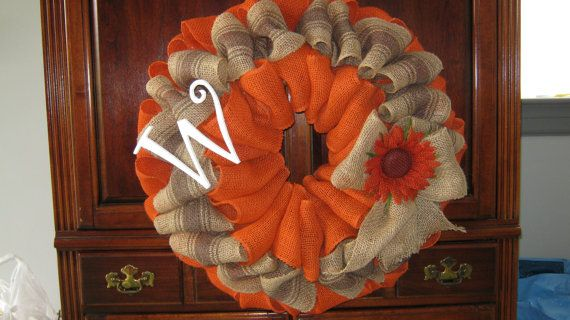 Fall Burlap Initial Wreath    Personalied fall burlap wreath with orange natural burlap / Getting ready for fall to arrive by adding this orange