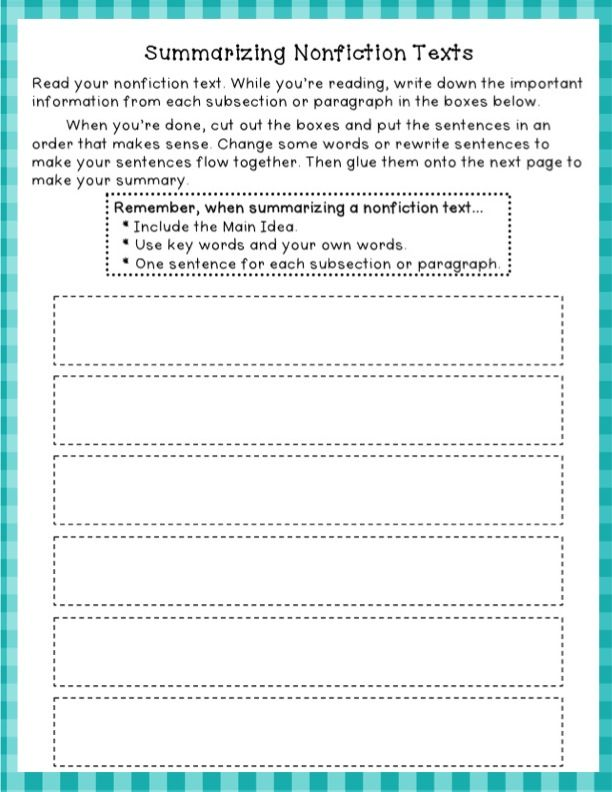 Great worksheet for summarizing Nonfiction texts can be aligned – Summarize Worksheet