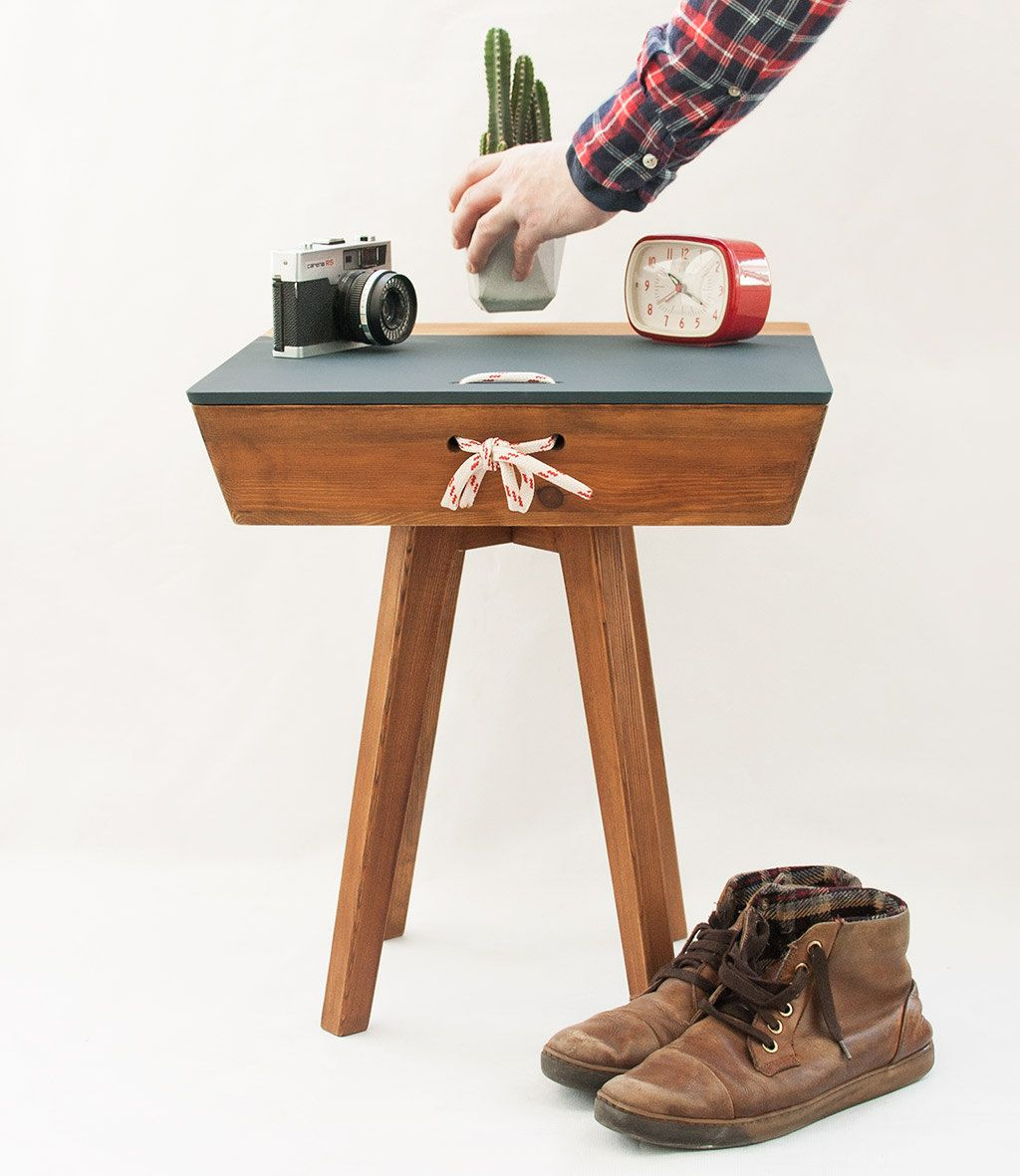 Rustic wood end table with drawer, handmade vintage end table ...