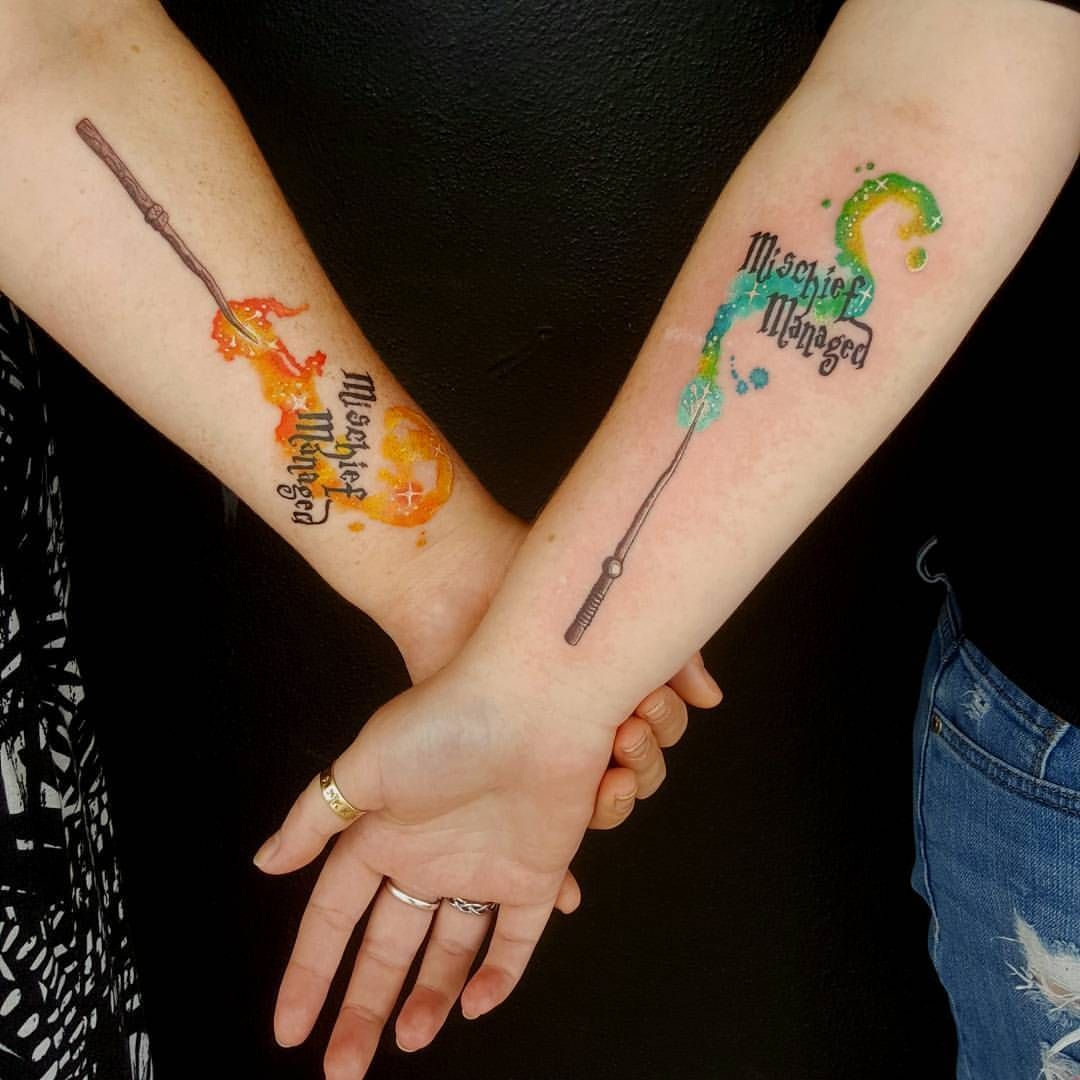 Two Friends From Two Different Houses Thanks For The Fun Tattoo Girls Harrypottertattoo Hogwarts Pat Harry Potter Symbols Wand Tattoo Harry Potter Tattoos