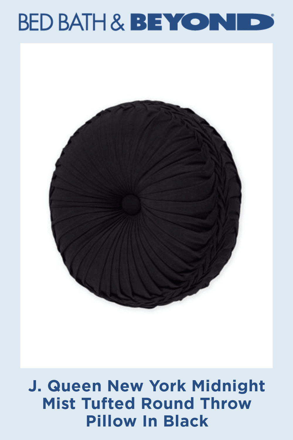 J. Queen New York Midnight Mist Tufted Round Throw Pillow In Black