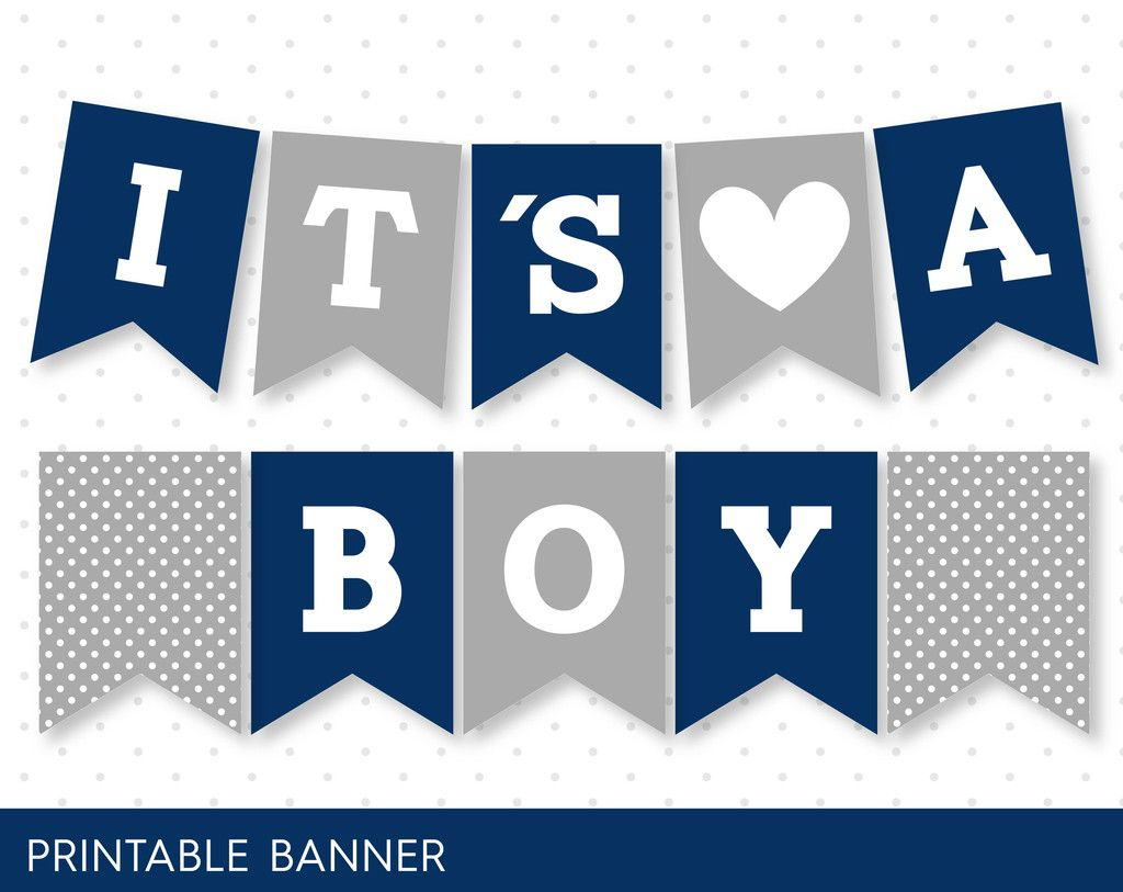 Navy Blue Banner Grey Banner Oh Baby Banner Oh Boy Banner Printable Banner With Baby Shower Banner Boy Baby Shower Banner Boy Printable Baby Shower Banner