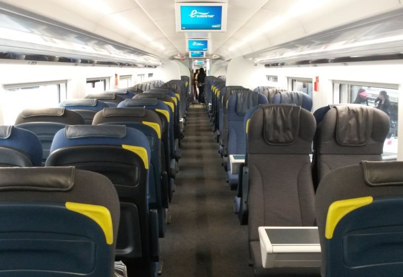 eurostar just like the older e300 trains standard class has two plus two seating throughout on. Black Bedroom Furniture Sets. Home Design Ideas