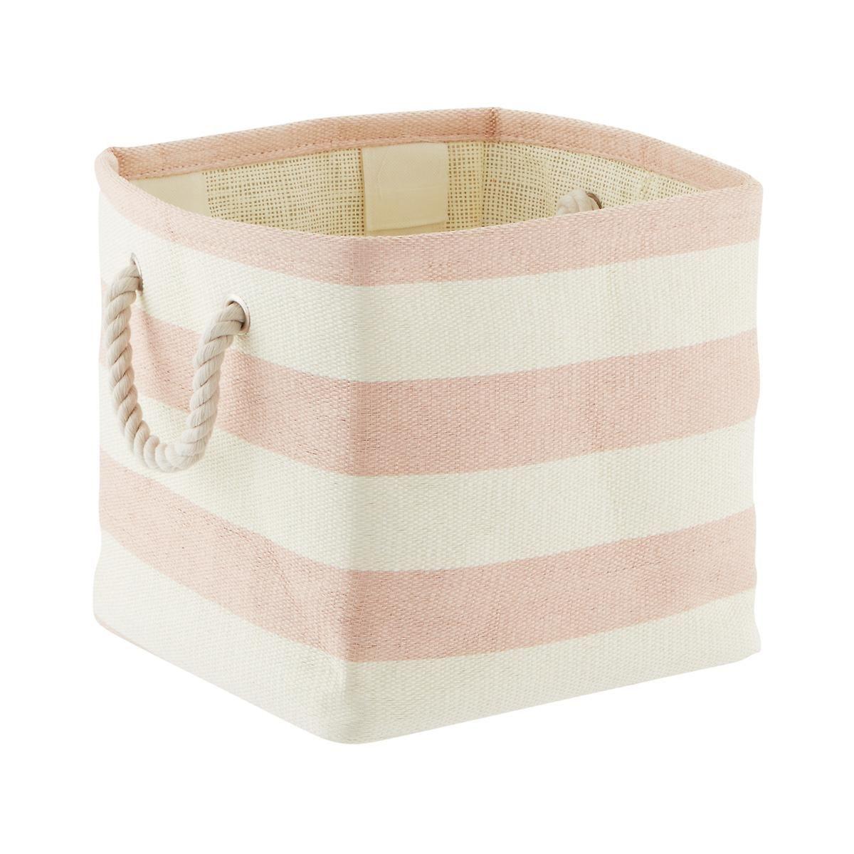Blush Ivory Rugby Stripe Storage Cube With Rope Handles Cube Storage Fabric Storage Bins Bath Toy Storage