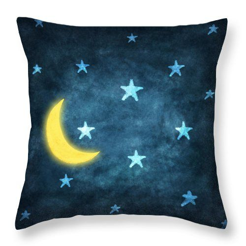 Night Moon and Stars' Throw Pillow