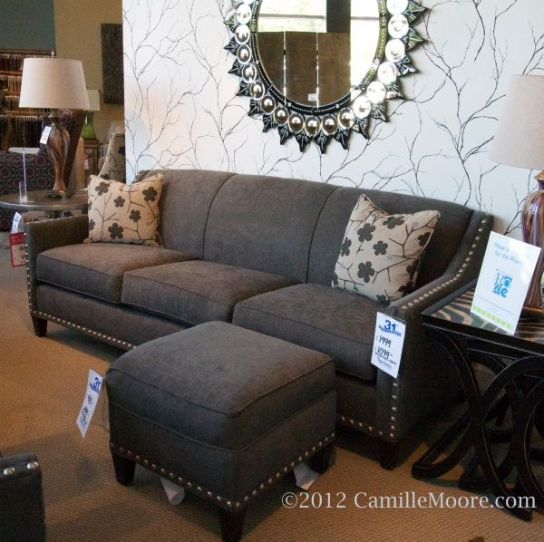 Gray+Velvet+Sofa+Nail+Heads | Sprintz Furniture Store In Nashville U0026