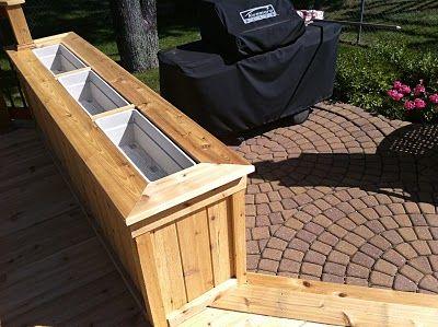 Outdoor Living A Couple Of Cedar Decks Cedar Deck Deck Planter Boxes Deck Planters
