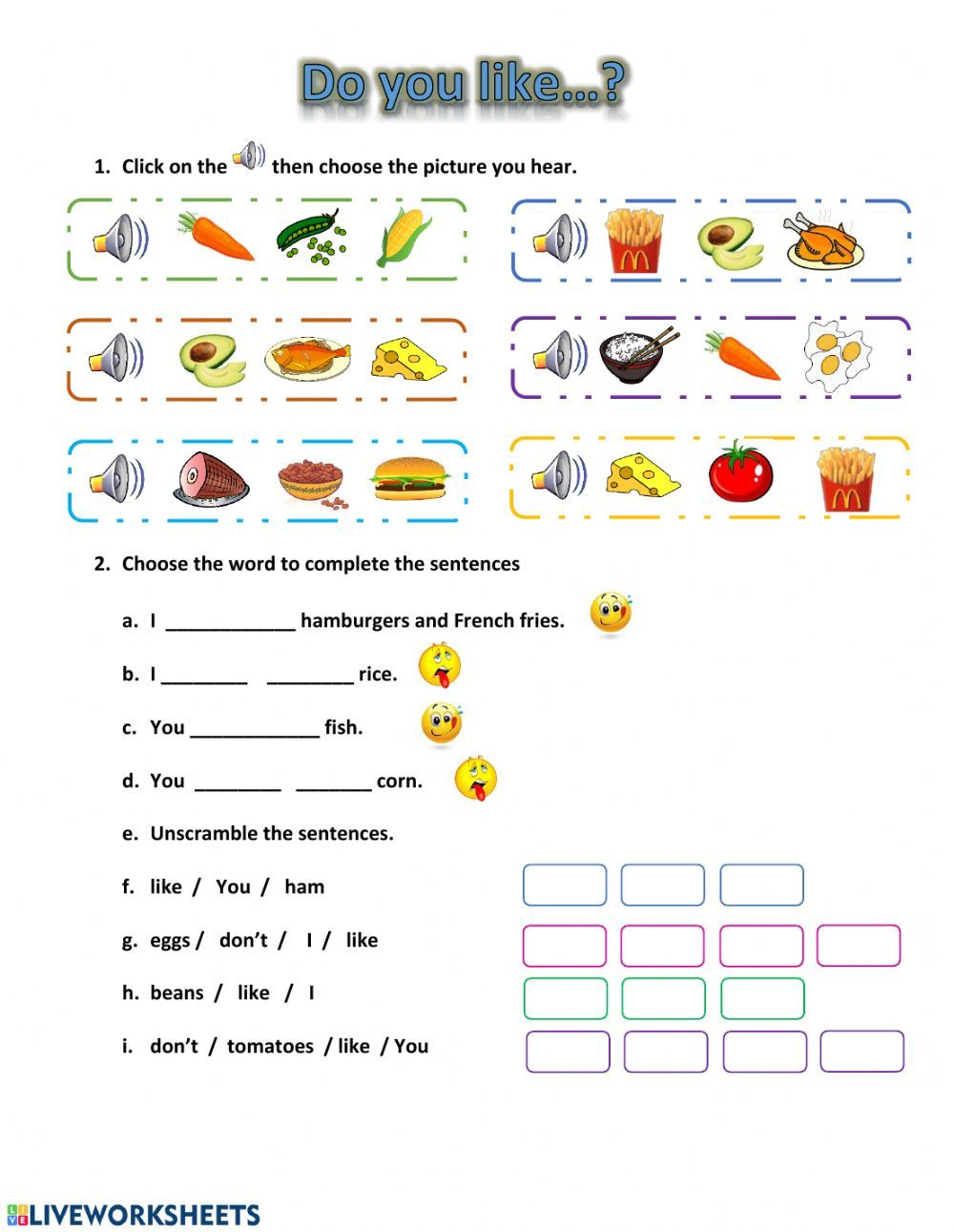 Likes and Dislikes (food) Interactive worksheet