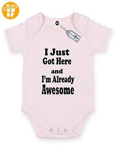 I Just Got hier und I 'm Already Awesome. Short Sleeve Baby Body Strampler. KOSTENLOSE LIEFERUNG IM LIEFERUMFANG ENTHALTEN. Rosa Hellpink (*Partner-Link)
