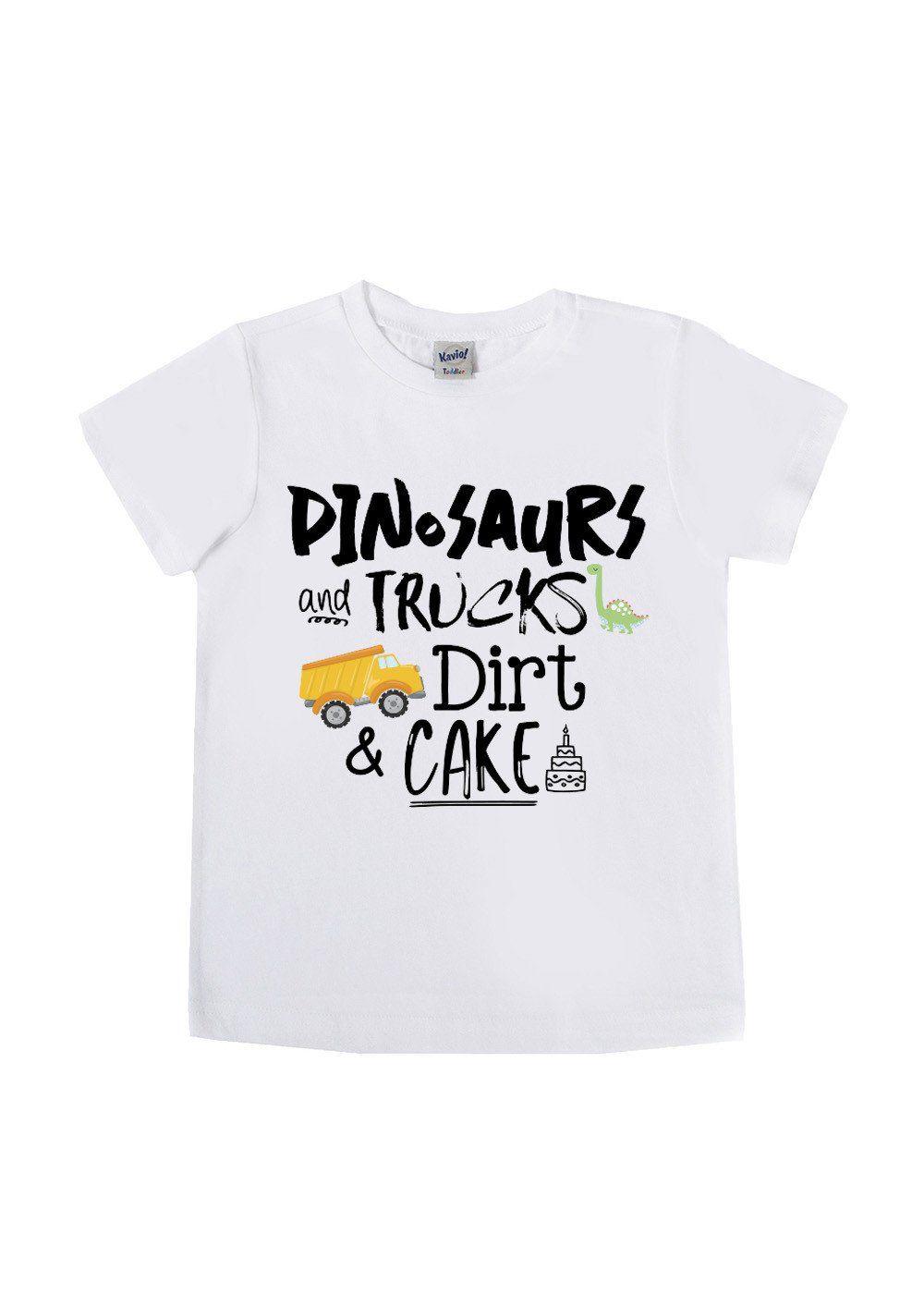 Dinosaurs Monster Trucks Dirt And Cake Birthday Boy Shirts Trucks Birthday Party Birthday Shirts