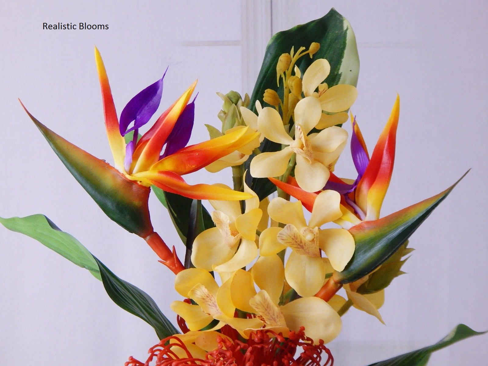 Bird of paradise silk orchids acrylic water fauxillusion real bird of paradise silk orchids acrylic water fauxillusion real touch flowers floral arrangement centerpiece tropical orange gift mightylinksfo
